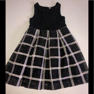 Janie and Jack plaid dressy dress black 6 bow gown